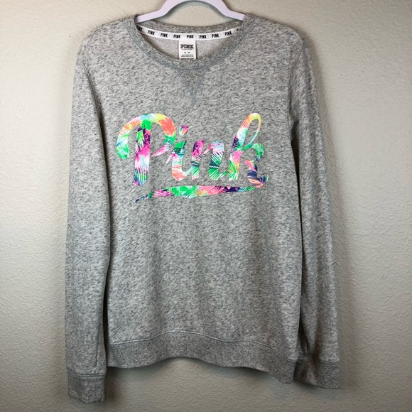 Pink Victorias Secret Sweaters Vs Pink Gray Spellout Graphic Crew